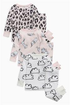 印花舒适睡衣三件装 (9个月-8岁)