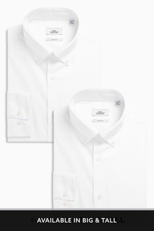 Button Down Collar Slim Fit Shirts Two Pack