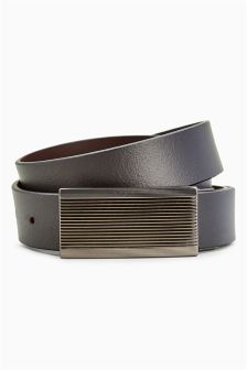 Reversible Leather Belt With Ribbed Plaque Detail