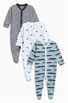 Crocodile Sleepsuits Three Pack (0个月-2岁)