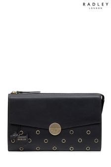 Radley Black Broad Street  Leather Stud Large Zip Top Clutch Bag