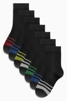 Stripe Footbed Socks Seven Pack (Older Boys)
