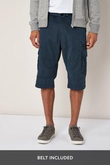 Удлиненные шорты карго с поясом