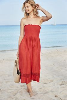 Midi Pull-On Beach Dress