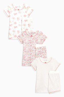 Floral Short Pyjamas Three Pack (9mths-8yrs)