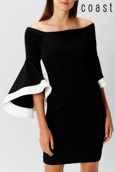Coast Black Elodie Bell Sleeved Dress