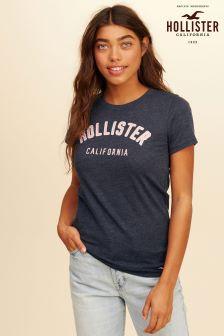 Темно-синяя футболка с логотипом Hollister