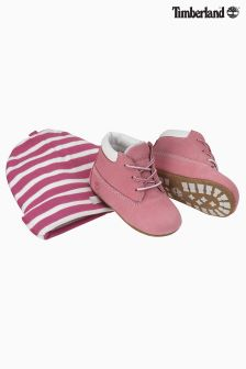 Timberland® Pink Crib Bootie And Hat