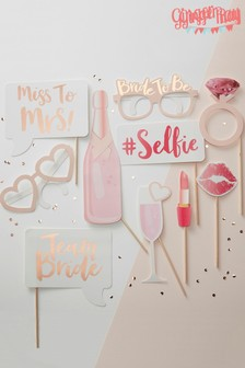 Ginger Ray Pink Team Bride Photo Booth Props