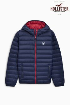 Hollister Navy Down Hooded Jacket