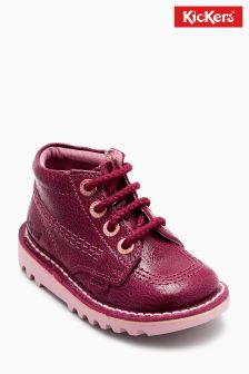 Kickers® Burgundy Crackle Kick Hi Boot
