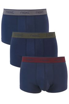 Contrast Waistband Hipsters Three Pack