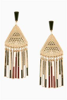 Metal Fringe Statement Tribal Earrings