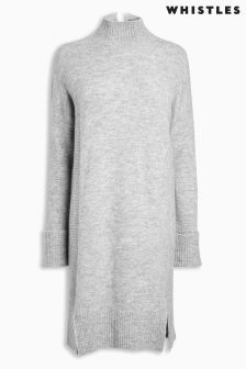Whistles Grey Long Sleeve Knitted Dress