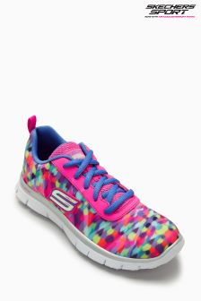 Skechers® Pink Multicolour Print Lace Up