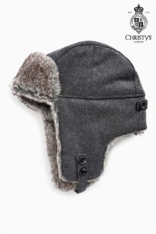 Christys' London Grey Melton Trapper Hat