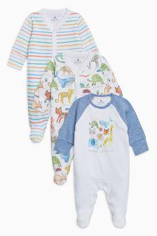 丛林印花连体睡衣三件装 (0个月-2岁)