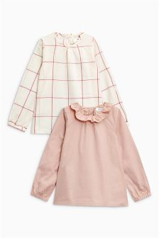 Grid Check And Plain Blouses Two Pack (3mths-6yrs)