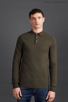 French Connection Green Long Sleeve Polo