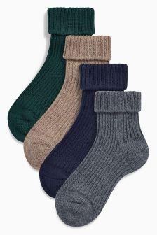 Heavy Gauge Turn Over Socks Four Pack (Younger Boys)