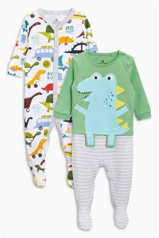 Dinosaur Sleepsuits Two Pack (0个月-2岁)