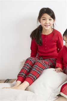 Girls Tartan Check Woven Bottom Pyjamas (3-16yrs)