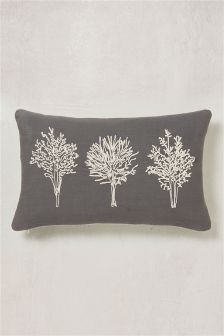 Grey Embroidered Trees Cushion