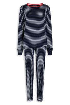 Long Sleeve Cotton Stripe Jersey Pyjamas