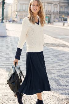 V-Neck Cable Sweater