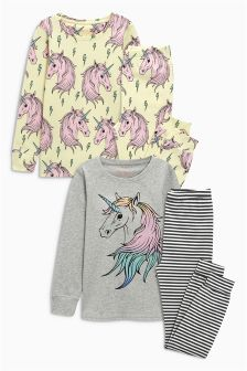 Unicorn Print Snuggle Pyjamas Two Pack (3-16yrs)