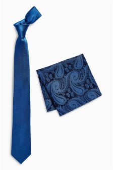 Silk Tie With Paisley Pocket Square Set