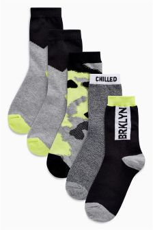 Mixed Socks Five Pack (Older Boys)