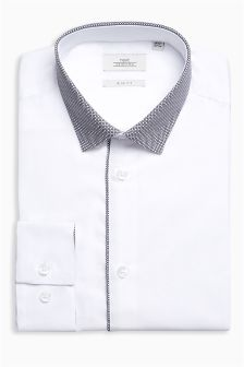 Contrast Collar Slim Fit Shirt