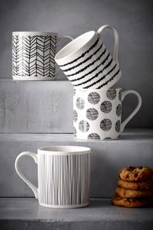 Set Of 4 Sketch Mugs