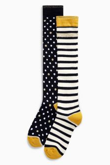 Spots & Stripes Welly Socks Two Pack