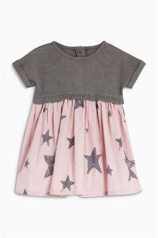 Jersey Woven Mix Dress (0mths-2yrs)