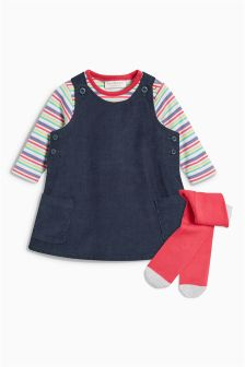 Cord Pinafore, Bodysuit And Tights Set (0mths-2yrs)