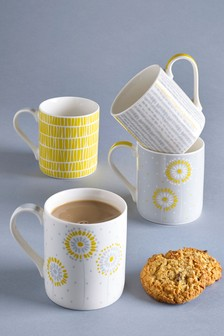 Set Of 4 Ochre Mugs