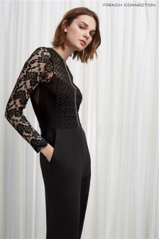French Connection Black Hannah Beau Long Sleeve Jumpsuit
