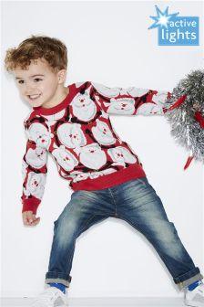 Топ со сплошным принтом Санта-Клауса (3 мес.-6 лет)
