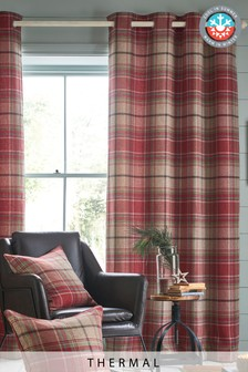 Thermal Morcott Woven Check Eyelet Curtains