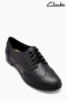Clarks Black Leather Andora Trick Wingcap Oxford Shoe