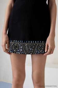 French Connection Black Deja Sparkle Mini Skirt