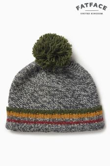 Fat Face Charcoal Stripe Turn-Up Beanie