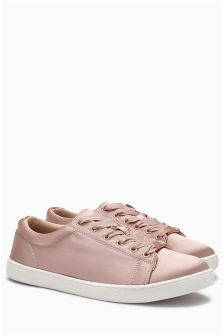 Satin Lace-Up Trainers