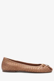 Woven Leather Ballerinas