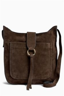 Suede Large Saddle Bag