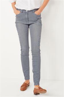 Mesh Appliqué Skinny Jeans