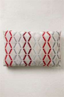 Collection Luxe Cream/Red Cut Velvet Cushion