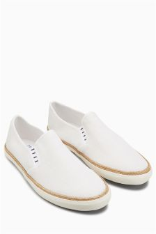 Washed Canvas Jute Slip-On